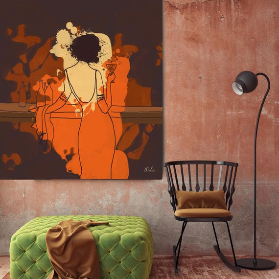 "Romantic Evening. Brown Orange Woman in the Bar Extra Large Canvas Art Print up to 48"", Large Figurative Canvas Art by Irena Orlov"