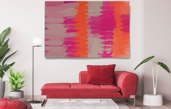 Art Abstract Painting, Gray Pink Gray Abstract Painting, Contemporary Art, Hand Painted, Extra Large Canvas Print, Kaleidoscope N-156-2