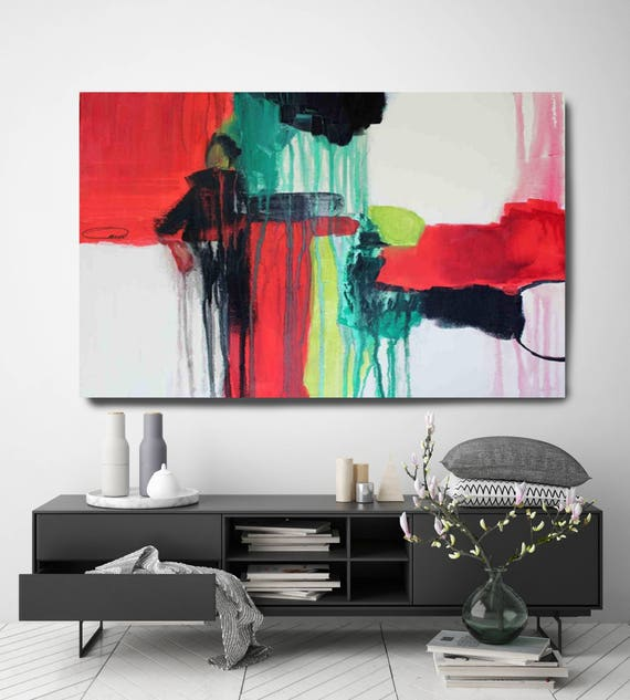 "Melody Corner. Abstract Paintings Art, Extra Large Abstract Red Black Contemporary Canvas Art Print up to 72"" by Irena Orlov"