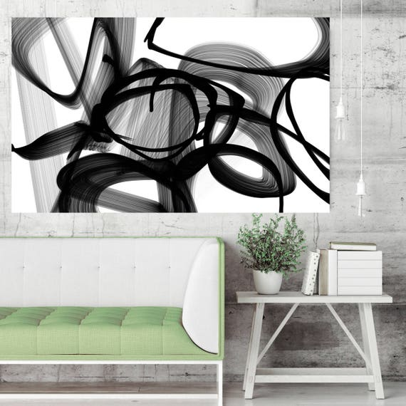 """Abstract Poetry in Black and White 88, Black and White Contemporary Wall Decor, Large Contemporary Canvas Art Print up to 72"""" by Irena Orlov"""