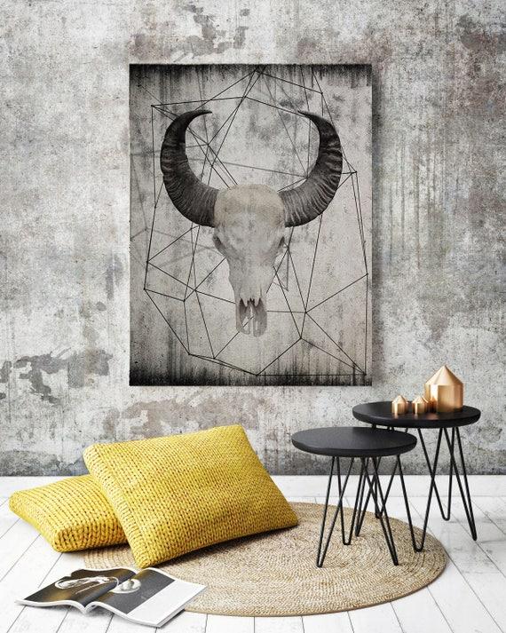 "Buffalo skull 4.  Extra Large Rustic Buffalo Skull Beige Canvas Wall Art Print up to 72"", Animal Rustic Canvas Wall Art Print Decor"