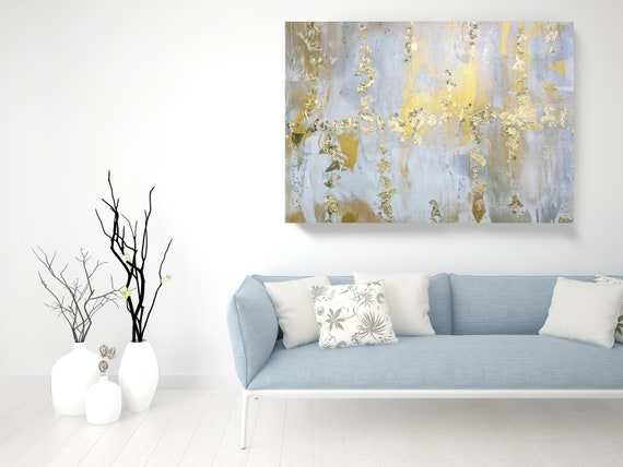 "Gold Leaf Silver Abstract Original Painting on Canvas 48 x 36"", Gold Leaf Silver Glitter Abstract Art, Irena Orlov Original Painting"