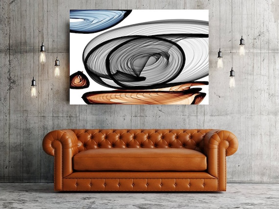 "Industrial feel 21-13-49. Extra Large Abstract Black Pale Canvas Wall Art, Industrial Canvas Wall Art Decor up to 72"" by Irena Orlov"