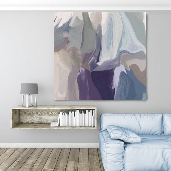 """Mixed Feelings 2, Huge Turquoise Purple Beige Gray Abstract Modern Canvas Art Print, Canvas Painting Print up to 50"""" by Irena Orlov"""