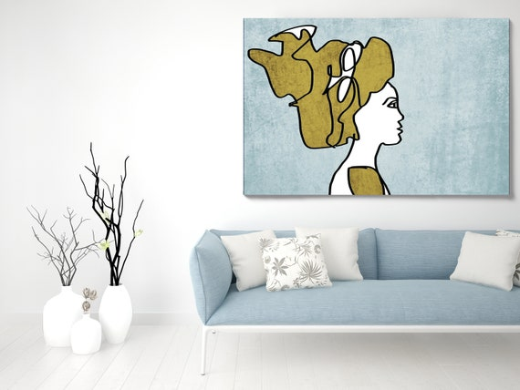 Woman face line Art 2. Line Art Modern Blue Gold Canvas Art print Minimalist Figurative Wall decor Blue Yellow Minimalist Art