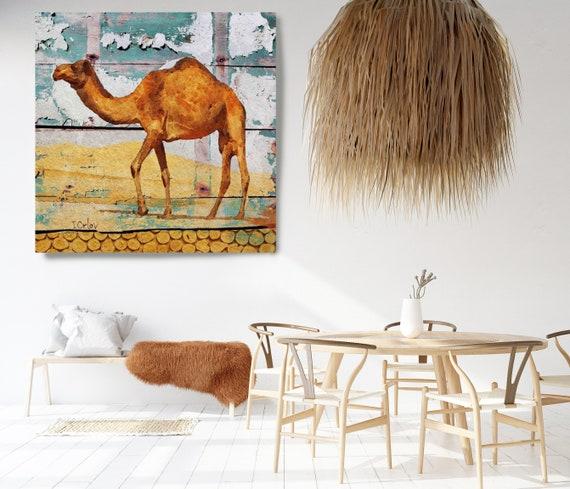 Camel House, Rustic Camel, Camel Canvas Print, Yellow Brown Camel, Farmhouse Wall Decor, Camel Painting, Camel Art, Camel Artwork