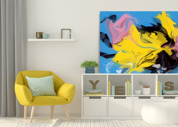 Passionate Fire, Original Art, Abstract, Canvas Print, Trending Now, Blue Yellow Painting Extra large Acrylic Painting on Canvas
