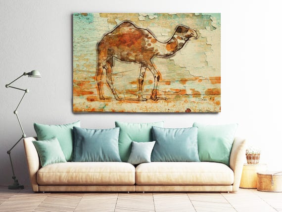 Camel. Camel Rustic Canvas Art Print, Teal Brown Beige Camel Wood Texture Canvas Art Print, Extra Large Camel Canvas Print up to 72""