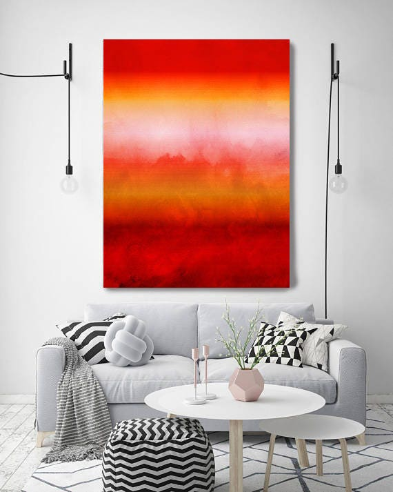 """Inspired by Rothko 16, Watercolor Abstract,  Extra Large Abstract Red Yellow Contemporary Canvas Art Print up to 72"""" by Irena Orlov"""
