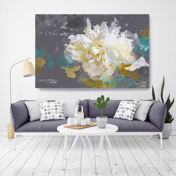 """Blow Away on The Wind 91. Floral Painting, White Floral Art, Abstract Floral Contemporary Canvas Art Print up to 72"""" by Irena Orlov"""