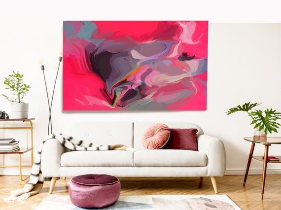 Hot Pink Flow Large Abstract Art, Abstract Canvas Print Large Earthy Warm Abstract Wall Art, Abstract Painting, In action 6
