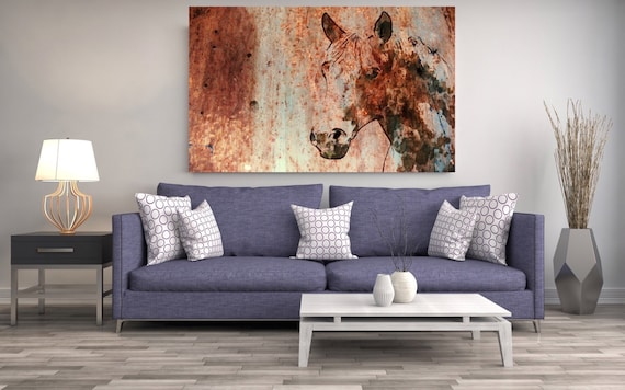 "Rustic Horse. Extra Large Horse, Unique Horse Wall Decor, Brown Rustic Horse, Large Contemporary Canvas Art Print up to 72"" by Irena Orlov"
