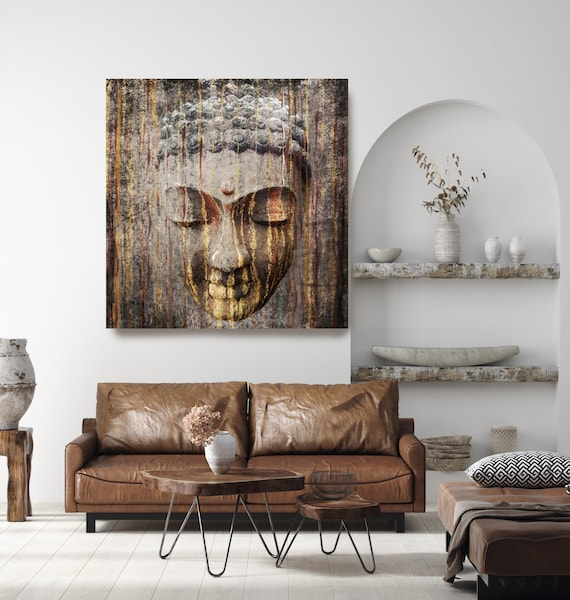 Brown Gold Buddha Painting Canvas Print, Buddha Wall Art, Spiritual Buddha Wall Art, Buddhist art, Zen wall painting, Canvas Wall Art Print