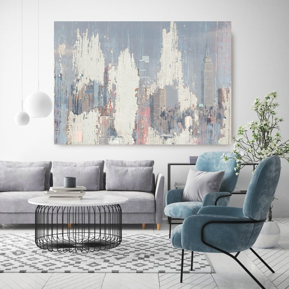 New York City Manhattan Skyline 2, Cityscape Painting, Blue Pink Large Abstract Urban Painting Canvas Print, Urban New York, Office Art