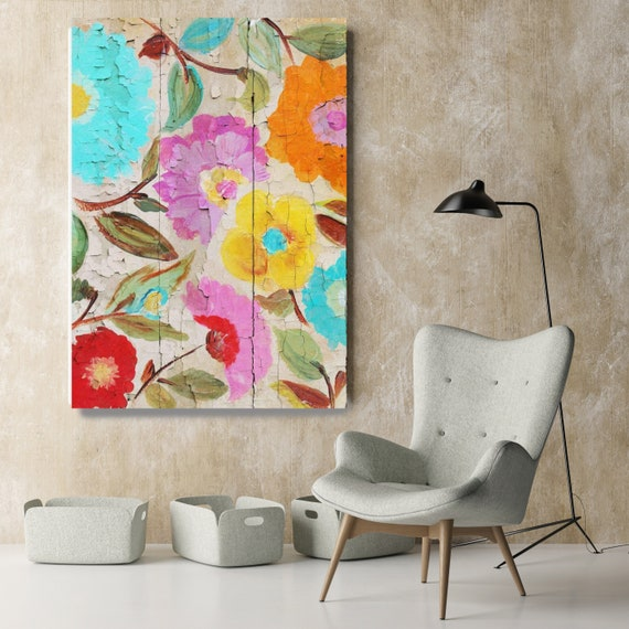 """Joyful Summer garden I. Rustic Floral Painting, Pink Yellow Blue Abstract Art, Colorful Rustic Canvas Art Print up to 72"""" by Irena Orlov"""