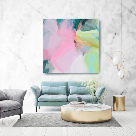 """Rightful Climate 2. Mint Pink Abstract Art, Wall Decor, Large Abstract Pink Mint Contemporary Canvas Art Print up to 50"""" by Irena Orlov"""