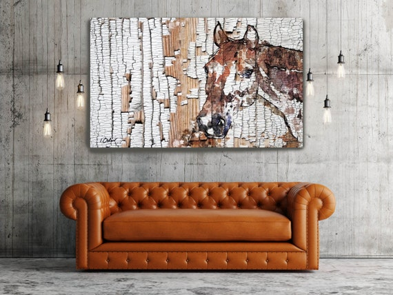 """The Observer 2. Extra Large Horse, Horse Wall Decor, Brown Rustic Wooden Horse, Large Contemporary Canvas Art Print up to 72"""" by Irena Orlov"""