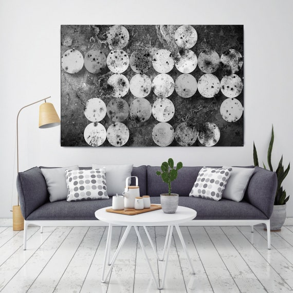 "ORL-9363 Marble Shapes, Large Abstract Geometrical Canvas Art, Black Industrial Contemporary Wall Art Print up to 72"" by Irena Orlov"