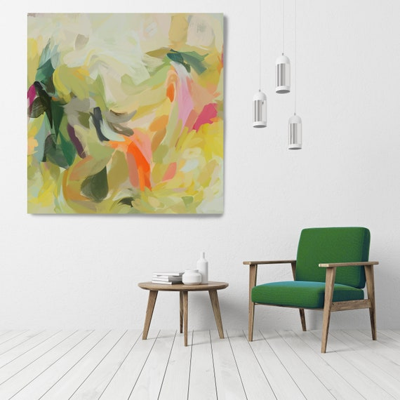 "Dancing Summer, Art Abstract Print on Canvas up to 50"", Green Red Abstract Canvas Art Print, Sunny City by Irena Orlov"