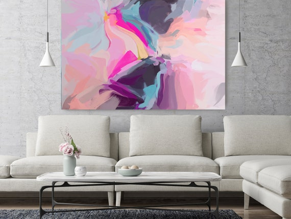 "Nobody Knows, Pink Purple Blue Abstract Painting Modern Wall Art Painting Canvas Art Print Art Modern Pink Blue up to 80"" by Irena Orlov"
