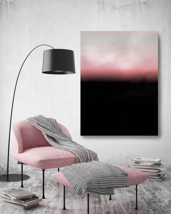 Abstract Minimalist Rothko Inspired 1-39. Abstract Painting Giclee of Original Wall Art, Pink Black Large Canvas Art Print up to 72""