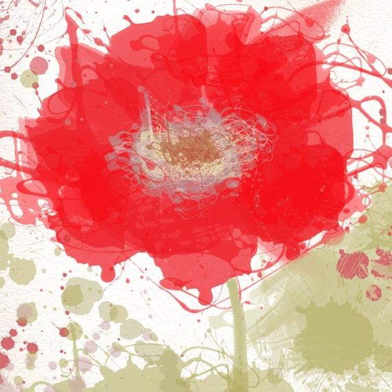 Modern Red Flowers canvas, large wall art, flower canvas art print, fine art print, Abstract splash flower by Irena Orlov
