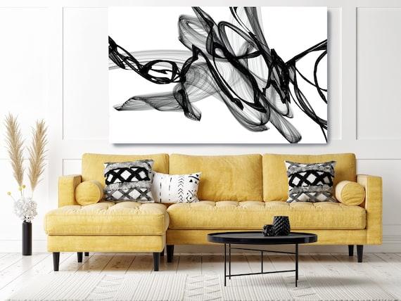 Black and White Wall Art, At Night, Home Decor Wall Art Black and White Abstract Canvas Print Brush Stroke Office Art Wall Art, Minimalist