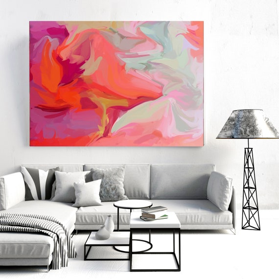 Mysterious forces, Abstract Art Red Acrylic Fluid art fluid painting wall art gift for her Original Artwork Canvas Art Print