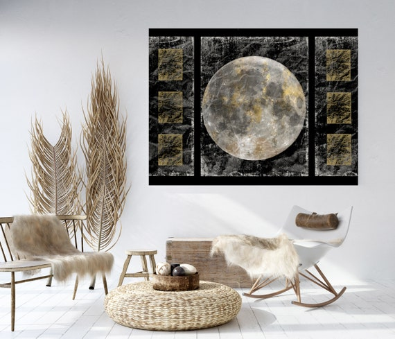 Gold Moon 5, Moon Modern Art, Gold Gray Black Moon Canvas Print, Black And White, Planet Wall Art, Space Art, Moon Phases Art