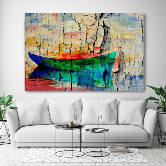 "Lost. Coastal Rustic Green Red Blue Boat Canvas Art Print, Extra Large Rustic Boat Canvas Art Print up to 72"" by Irena Orlov"