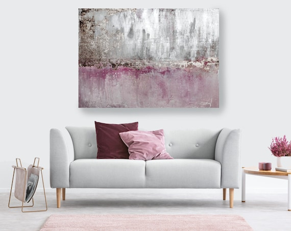 Silver Pink Bronze Abstract Painting Silver Pink Modern Art Abstract Painting Extra Large Silver Painting Extra Large Abstract Canvas Print