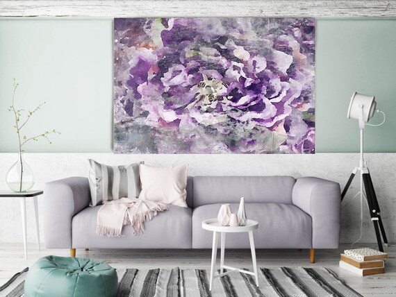 """ORL-8028-1 Delightful 2. Floral Painting, Purple Abstract Art Large Abstract Colorful Contemporary Canvas Art Print up to 72"""" by Irena Orlov"""