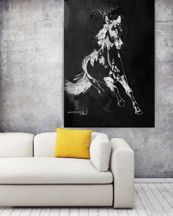 "Wild Running Horse 1-2. Extra Large Horse Wall Decor, Black Contemporary Horse, Large Contemporary Canvas Art Print up to 72"" by Irena Orlov"