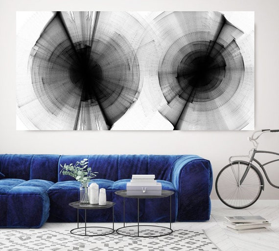 "Extra Large Circle Wall Art up to 100"", Abstract Painting, Contemporary Art, Black and white painting, Canvas Art Print, Abstract Circles"