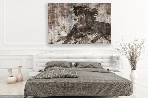 "Running Horse. Extra Large Horse, Unique Horse Wall Decor, Brown Rustic Horse, Large Contemporary Canvas Art Print up to 72"" by Irena Orlov"