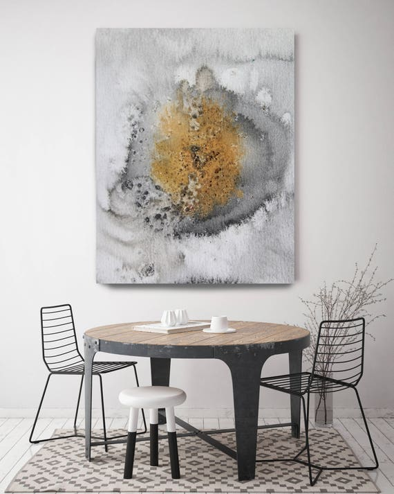 """Coastal Watercolor Abstract 30. Watercolor Abstract Yellow Black Orange Canvas Art Print, Extra Large Canvas Art up to 72"""" by Irena Orlov"""