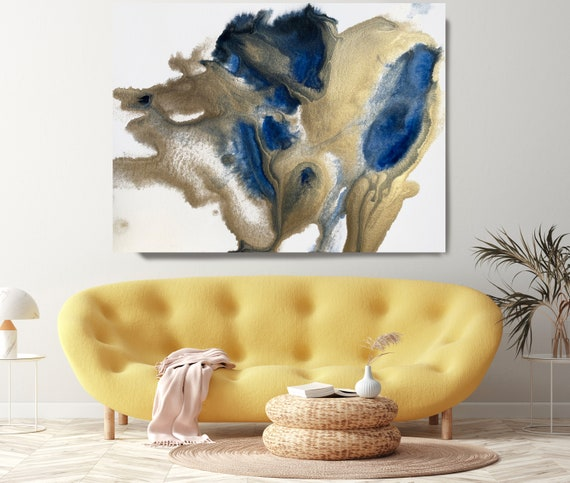 Gold in Blue Painting Watercolor Abstract 11, Contemporary Gold Painting Large Wall Art Abstract Canvas Print Gold Art for Home Office
