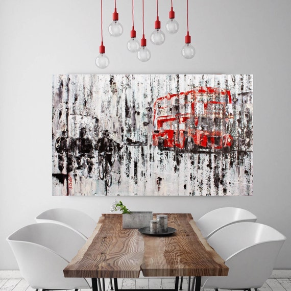 "London. Extra Large Industrial London Canvas Art Print up to 72"", London Cityscape Red Grey Canvas Art Print Wall Decor by Irena Orlov"