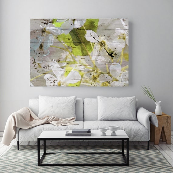 That very spring. White Floral Painting, Blooming Flowers Painting, Blooming Watercolor Art, Blooming art, White Green Painting Canvas Print