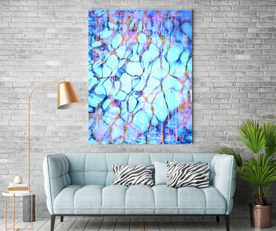 Purple Gold Water Abstract, Painting Purple Gold abstract painting wall art Extra Large Coastal Painting Extra Large Abstract Canvas Print