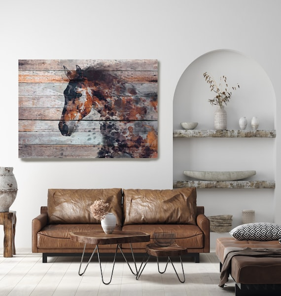Farmhouse Horse Art Western Horse Canvas Print Fire Horse Large Horse Painting Print, Unique Horse Wall Decor, Brown Rustic Horse Artwork