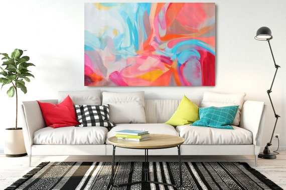 "Balance of Independence, Abstract Painting Modern Wall Art Painting Canvas Art Print Art Modern Pink Blue Red up to 80"" by Irena Orlov"