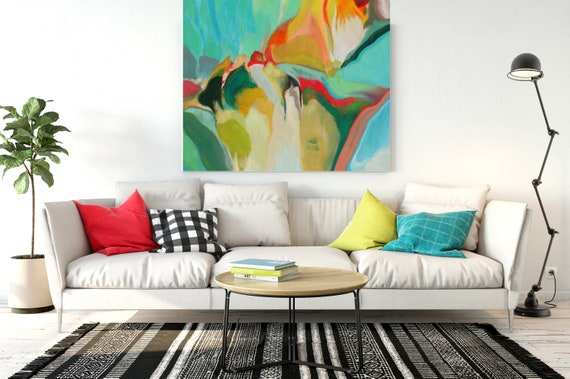 """Color Palette 299, Green Red Yellow Abstract Painting, Green Red Yellow  Blur Canvas Art Print up to 48"""" by Irena Orlov"""