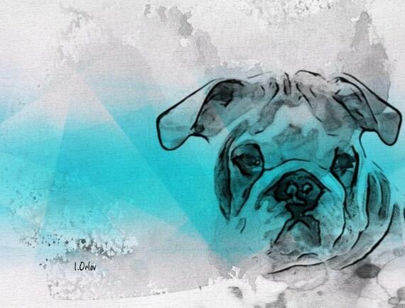"Bulldog Portrait. Canvas Print by Irena Orlov 24x36"""