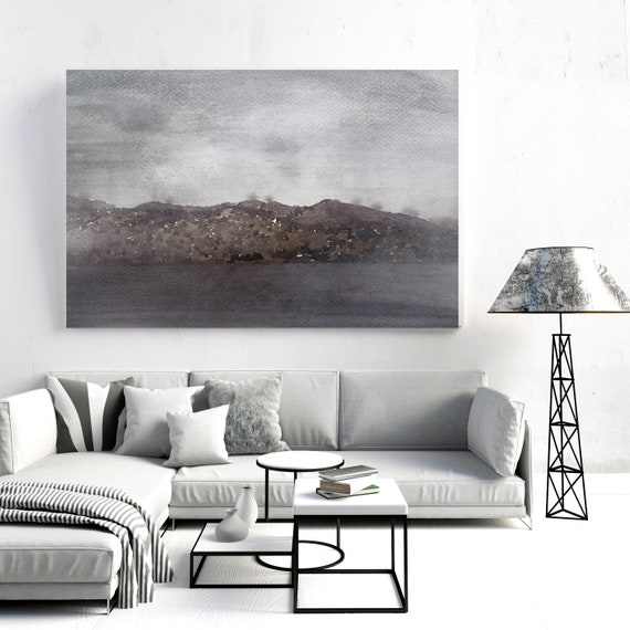 "Foggy Morning. Huge Rustic Seascape Painting Canvas Art Print, Large Purple Brown Blue Canvas Art Print up to 80"" by Irena Orlov"