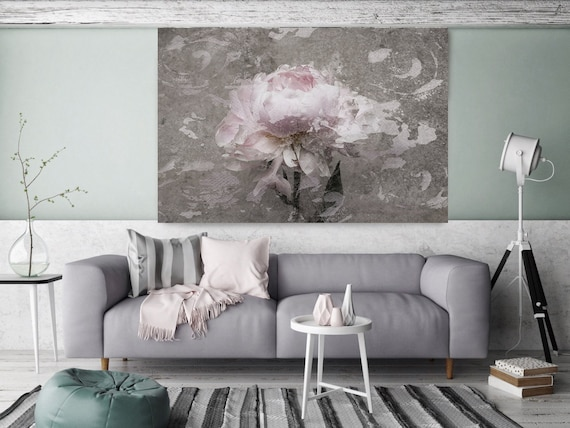 Blush Gray Spring Peony 2, Shabby Pink Gray Rustic Peony Painting, Shabby Chic Blush Peony Painting Canvas Art Print Floral Print Blush Pink