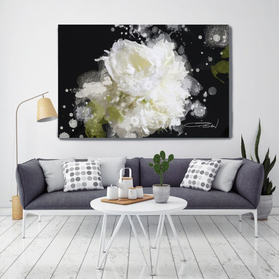 "Blow Away on The Wind 5-2. Floral Painting Print, Green Black White Contemporary Floral Canvas Art Print up to 72"" by Irena Orlov"