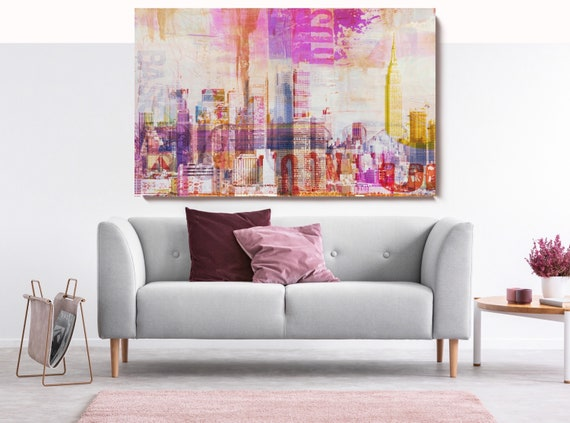 Colorful New York 5., Cityscape Art, Urban Art, City Wall Art, Urban Wall Art,Large Painting City, Urban Canvas Art Print