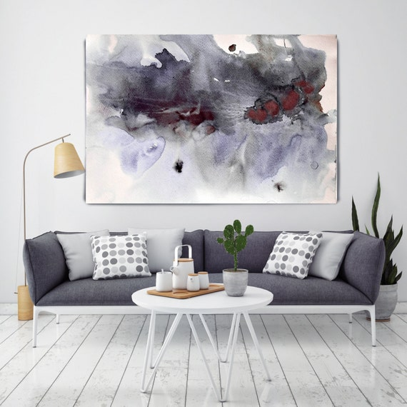 "ORL-7945-1 In Darkness. Watercolor Abstract, Modern Wall Decor, Extra Large Abstract Colorful Canvas Art Print up to 72"" by Irena Orlov"