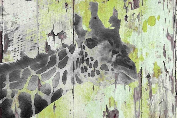 Giraffe Taking a Look. Irena Orlov, Large Canvas Art Print, Large Giraffe Canvas Art, Modern Animal Wall Decor, Giraffe on Green
